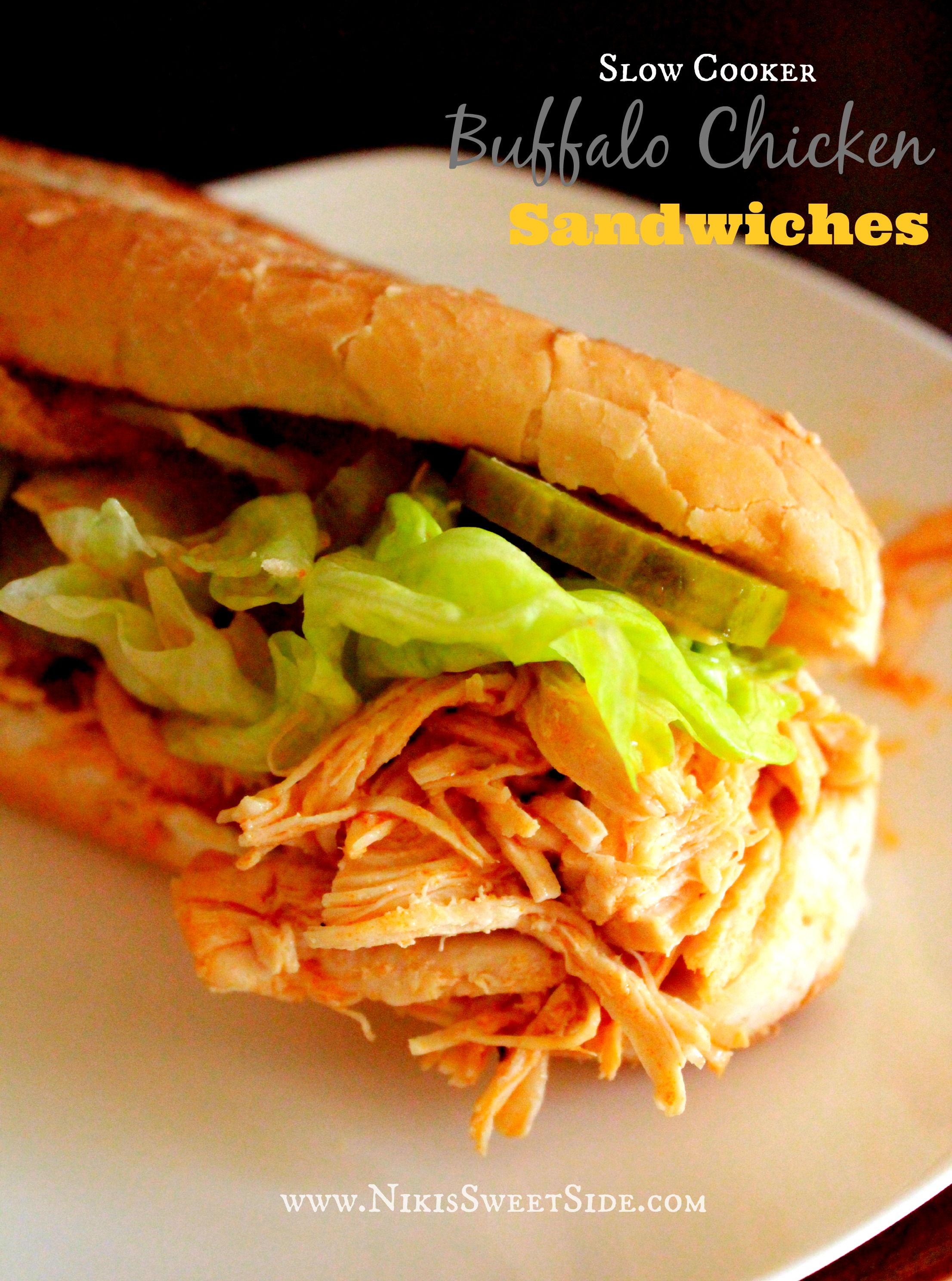 Slow Cooker Buffalo Chicken Sandwiches | Niki's Sweet Side